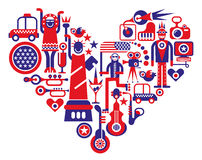 Love America. Heart shape vector illustration. Red and blue icons on white background Royalty Free Stock Photo