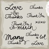 Love And Thanks Hand Drawn Inscription Set Royalty Free Stock Photography
