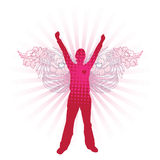 Love Angel. Silhouette of woman with floral angel wings. Separated elements Stock Image