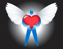 Love angel. Red heart white wings Vector Illustration