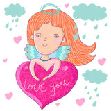 Love angel. Little love angel in clouds - cute cartoon illustration Royalty Free Stock Photography