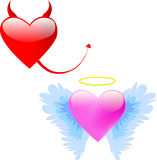 Love angel and Devil. Illustration of a heart devil and angel Stock Photos