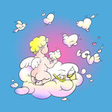 Love angel. Little angel playing in the clouds in the shape of heart Stock Photo