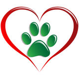 Love animals. Illustration paws and hearts as a symbol of love for animals Royalty Free Stock Image