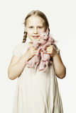 Love animals - child with cats Royalty Free Stock Photos