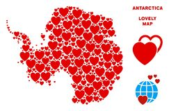 Vector Lovely Antarctica Map Collage of Hearts. Love Antarctica map collage of red hearts. We like Antarctica map template. Abstract vector geographic plan is vector illustration