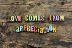 Love appreciation faith respect kindness typography beauty. Love appreciation faith respect kindness typography letterpress true hope romance relationship trust stock photo