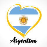 Love Argentina emblem colored. Argentina Independence Day vector design colorful shield in heart color national flag and text royalty free illustration
