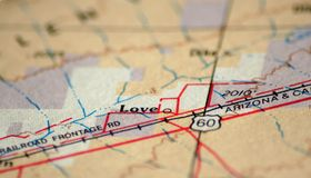 Love Arizona. The tiny town of Love, Arizona on an atlas stock photos