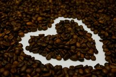 Love with the aroma of coffee beans royalty free stock photo