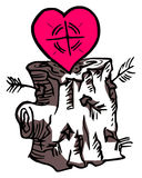 Love arrow. An illustration of a hearth on a trunk. Finding or surching for love Stock Photo