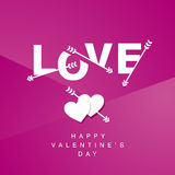 Love arrows logotype pink background. Love arrows logotype pink hearts Valentines Day background Royalty Free Stock Photos