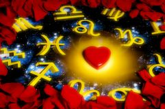 Love and astrology. Red rose petals around an astrology background with a heart shape in the center Royalty Free Stock Photo