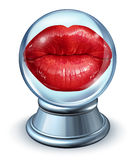 Love Astrology. Concept with red woman lips in a crystal ball as a symbol of dating horoscope and predicting romantic future relationships using signs from the Stock Photos