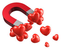 Love and attraction concept. Lot of red hearts attracted by metal horseshoe magnet isolated on white background Stock Photo