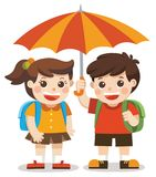 Love Autumn. Happy boy and girl with umbrella. Stock Photography