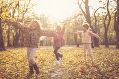 We love autumn. Kids in nature. royalty free stock photo