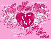 Love Background. An illustrated pink background with graffiti and grunge design of a heart with wings Stock Image