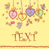 Love background. Inscription love, flowers, hearts, birds on a yellow background Royalty Free Stock Images