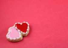 Love Background. Heart cookies on a red background Stock Photography
