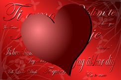 Love background with hearts in red Stock Image