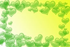 Love background. Hearts in yellow background using photoshop brush Royalty Free Stock Photos