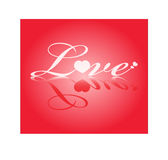 Love Background. On red background a big love writing vector illustration