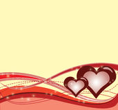 Love background. Abstract background with waves and hearts stock illustration
