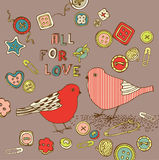Love background with birds Royalty Free Stock Photos