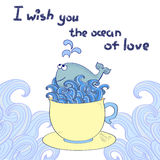 Love background. Cute cartoon whale in the cup. Stock Photography