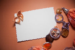 Love background with drapery. White postcard with beige bow for text Royalty Free Stock Photo