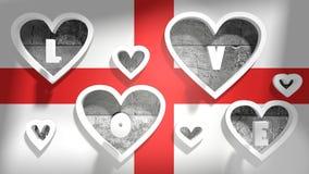 Love background england national flag with heart shape holes Stock Photo