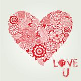 Love background with floral heart Royalty Free Stock Photos