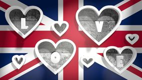 Love background great britain flag with heart shape holes Royalty Free Stock Image