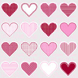 Love background with heart frames on pink, pattern for baby girl vector illustration