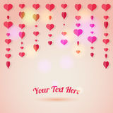 Love background with heart shapes is hanging on a thread Royalty Free Stock Images