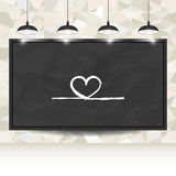 Love background with hearts on blackboard for Valentine's day  Royalty Free Stock Photos