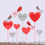 Love background with hearts and cute birds. Romantic card template. Valentines day Royalty Free Stock Photo