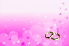 Love Background. Background hearts pink for my future and two gold rings, With space for text Royalty Free Stock Photos