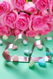 Love background with hearts and roses Royalty Free Stock Images