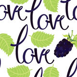 Love background with lettering and blackberry Stock Photo