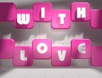 Love background. With love text on boxes Stock Photo