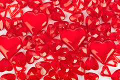 Love background made of decorative hearts Royalty Free Stock Photo
