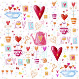 Love background made of red hearts, flowers.Seamless pattern can be used for wallpaper, pattern fills, web page background, postca. Rds Royalty Free Stock Photo