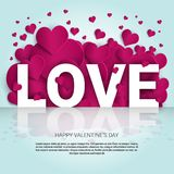 Love Background With Pink Heart Shapes Template Banner With Copy Space Royalty Free Stock Images