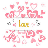 Love background with pink watercolor hearts. Romantic card template. Valentine`s day design. Vector illustration Royalty Free Stock Photo