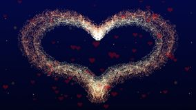 Love background with red heart for Valentine`s Day. Deep blue backgrop. Focus is on heart. royalty free stock photos