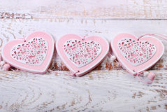 Love background with three hearts Stock Photo