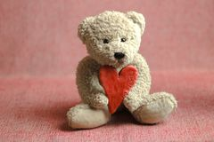 Teddy bear with red heart. royalty free stock photos