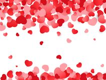 Love background. Valentines day texture with red hearts. Colorful confetti. Vector illustration.  Stock Photography